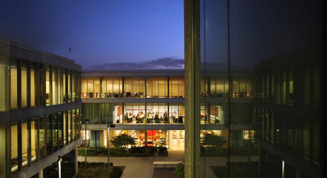 academic building at night