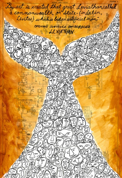 Illustration of a white whale tail composed of human faces against an orange background.