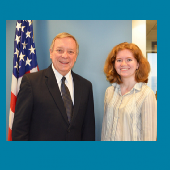 Senator Durbin with student intern
