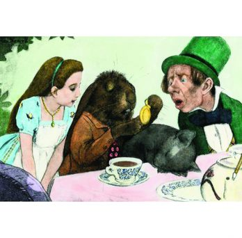 An illustration from Alice in Wonderland's tea party scene.