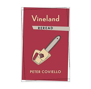 Red cover of Vineland Reread with a chainsaw graphic