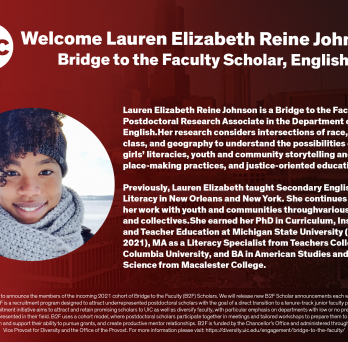flyer repeating Lauren Johnson's information with a picture of her at left.
